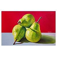 'Natural Beauty II' - Signed Peruvian Fine Art Painting of Pears