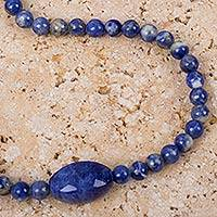Sodalite beaded pendant necklace, 'Marbled Blue' - Artisan Crafted Sodalite Beaded Necklace from Peru