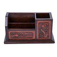 Cedar and leather desk organizer, 'Plains of Nazca' - Archaeology Theme Hand Tooled Brown Leather Desk Organizer