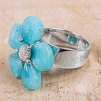 Amazonite flower ring, 'Azure Petals' - Handcrafted 925 Sterling Silver with Amazonite Flower Ring b
