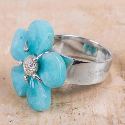 Artisan Crafted Amazonite and Sterling Silver Cocktail Ring