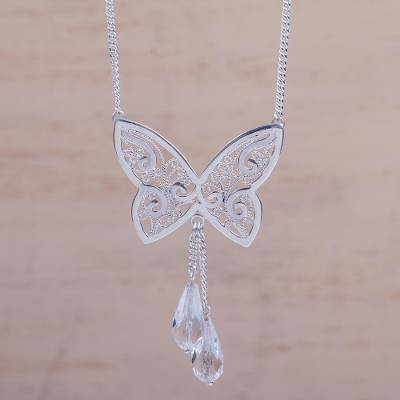 Sterling Silver Butterfly Necklace with Quartz 'Butterfly Charm' (Peru)