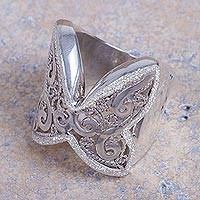 Sterling silver cocktail ring, 'Chosica Butterfly' - Artisan Crafted Wide Sterling Silver Floral Cocktail Ring