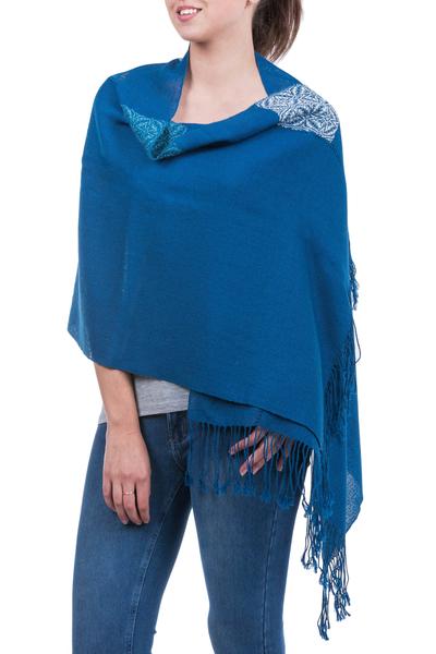 100% alpaca shawl, 'Blue Dahlia' - Andean Baby Alpaca Backstrap Loom Blue Floral Shawl