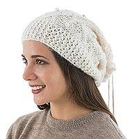 100% alpaca hat or neck warmer, 'Stylish in Ivory' - Hand Knitted Ivory Color Alpaca Neck Warmer or Hat