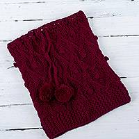 100% alpaca hat or neck warmer, 'Stylish in Red' - Fair Trade Hand Knit 100% Alpaca Peruvian Drawstring Neck Wa