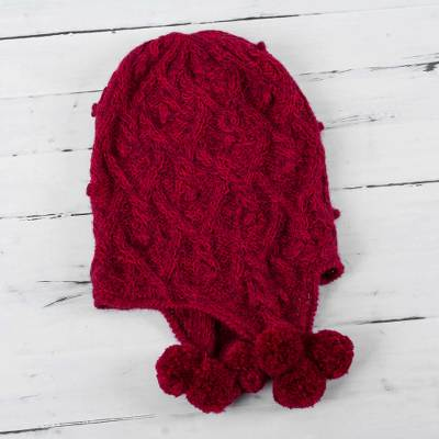 100% alpaca chullo hat, 'Cherry Pompoms' - Fair Trade Hand Knit 100% Alpaca Peruvian Chullo Hat in Wint