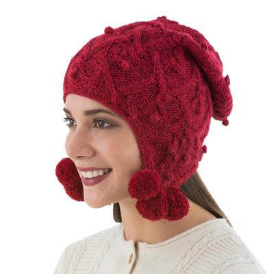 100% alpaca chullo hat, 'Cherry Pompoms' - Fair Trade Hand Knit 100% Alpaca Peruvian Chullo Hat in Wint