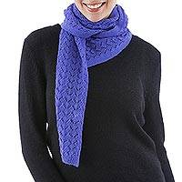 100% alpaca scarf, 'Pretty in Periwinkle' - Hand Knitted Alpaca Scarf from Peru in Periwinkle Blue