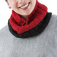 100% alpaca neck warmer, 'Huayruro' - Hand Knitted Red and Black 100% Alpaca Wool Neck Warmer