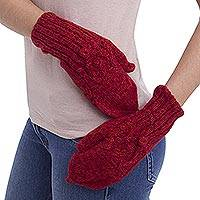 100% alpaca mittens, 'Cherry Braids' - Hand Knitted Andean 100% Alpaca Red Fingerless Mittens