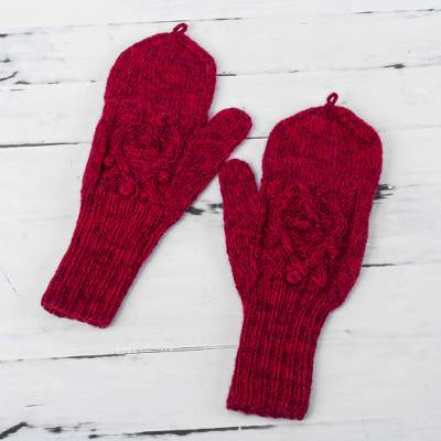 100% alpaca mittens, 'Cherry Braids' - Fair Trade Hand Knit 100% Alpaca Fingerless Mittens with Fol