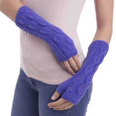 100% alpaca mitts, 'Blue Iris Leaves' - Andean 100% Alpaca Hand Knitted Fingerless Blue Gloves