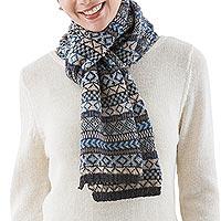 100% alpaca scarf, 'Organic Geometry' - Blue and Beige Geometric Motif Unisex Alpaca Scarf