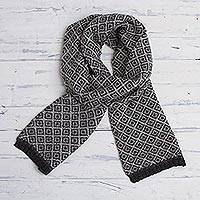 100% alpaca scarf, 'Coconut Shadow' - Geometric Motif Unisex 100% Alpaca Scarf in Grey and Black
