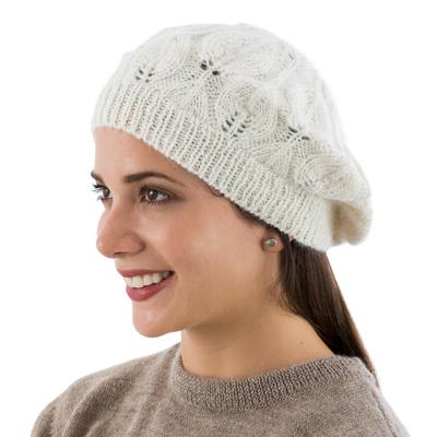 100% alpaca beret, 'Ivory Leaves' - Hand Knit Andean 100% Alpaca Women's Beret in Ivory
