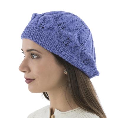 100% alpaca beret, 'Blue Iris Leaves' - Hand Knitted Peruvian Alpaca Beret in Iris Blue