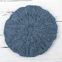 100% alpaca beret, 'Azure Leaves' - Women's Blue Beret Hat Knitted by Hand in 100% Alpaca Wool