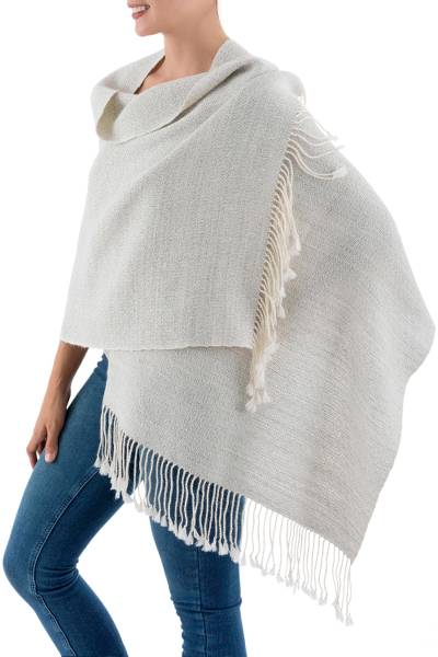 100% alpaca shawl, 'Whispering Warmth' - Textured Beige and Grey Handwoven Andean 100% Alpaca Shawl