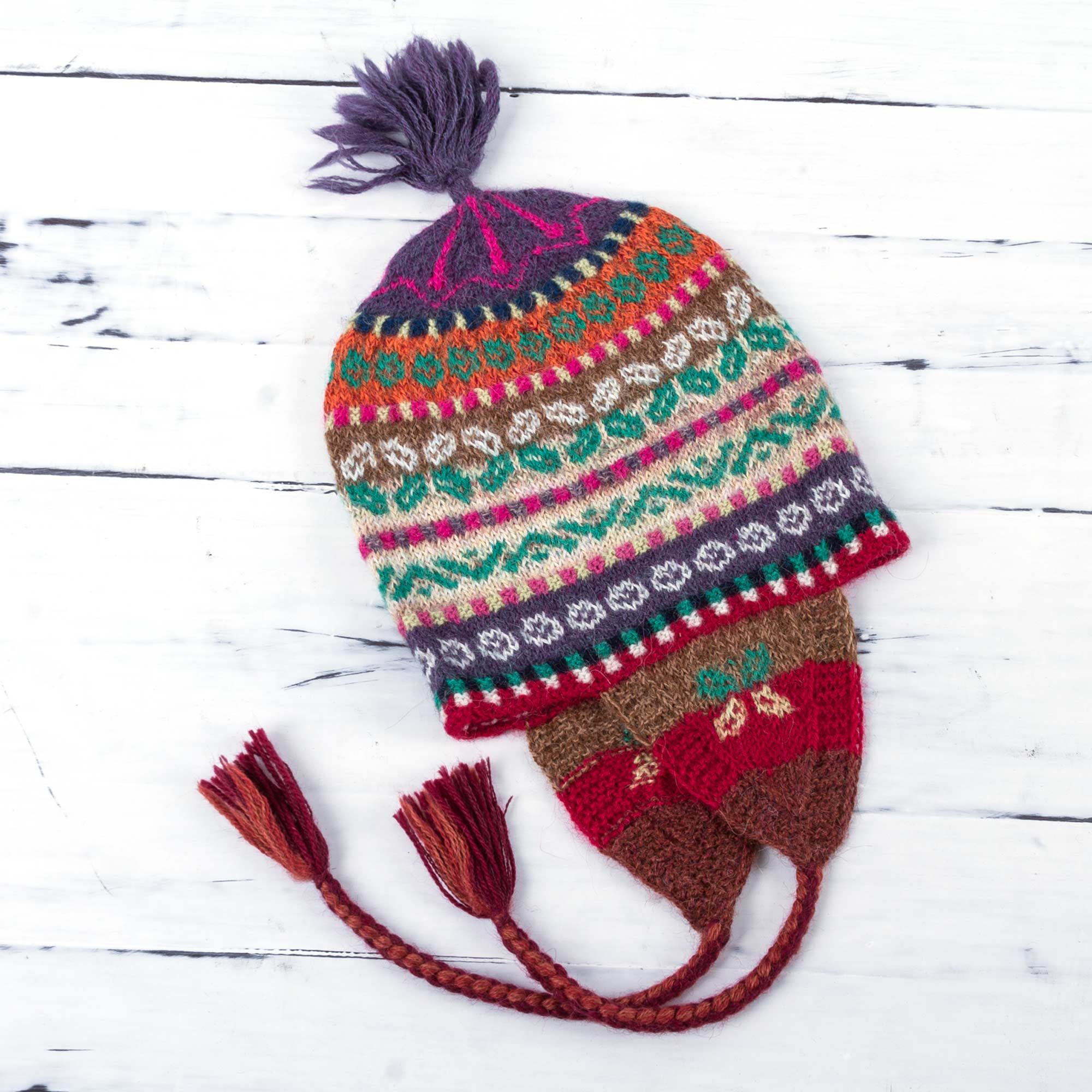 9af6ffe6db5 Hand Knitted Andean Chullo Hat in Colorful 100% Alpaca Wool - Fiesta ...