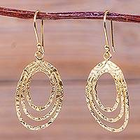 Gold plated dangle earrings, 'Centrifuge' - Unique Hand Hammered Fair Trade 18K Gold Plate Earrings
