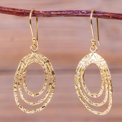 Gold Plated Dangle Earrings Centrifuge Unique Hand Hammered Fair Trade 18k