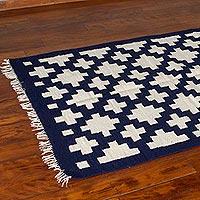 Wool rug, 'Chakana Geometry' (4x5)