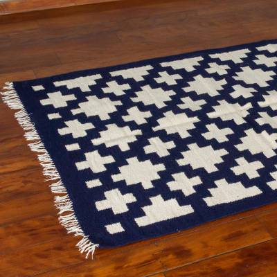 Wool rug, 'Chakana Geometry' (4x5) - Off White Crosses on Blue Wool Accent Rug from Peru (4x5)
