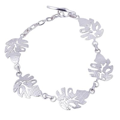 Andean Artisan Crafted Sterling Silver Leaf Link Bracelet