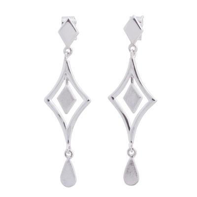 Sterling silver chandelier earrings, 'Diamond Reflections' - Handcrafted Andean Sterling Silver Diamond Shape Earrings