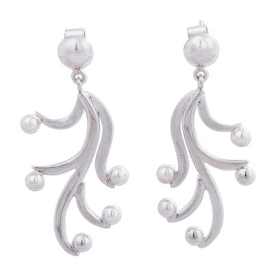 Sterling silver dangle earrings, 'Amazon Vines' - Andean Artisan Earrings Crafted in Sterling SIlver