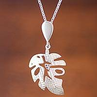 Sterling silver pendant necklace, 'Textured Leaf' - Handcrafted Andean Sterling Silver Textured Leaf Necklace