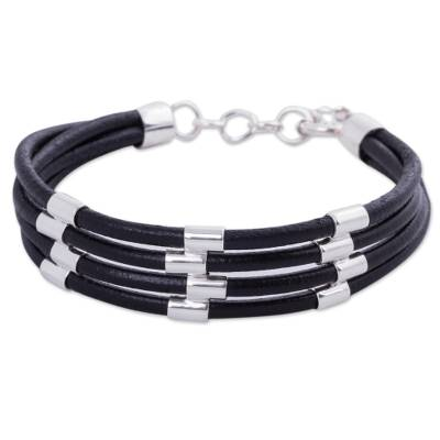 Sterling silver and leather wristband bracelet, 'Building Bridges' - Handmade Black Leather Wristband Bracelet with Andean Silver
