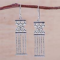 Sterling silver chandelier earrings, 'Quipu' - Inca-Inspired Handcrafted Sterling Silver Earrings