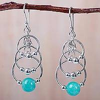 Amazonite chandelier earrings, 'Infinity of Circles' - Fair Trade Sterling Silver and Amazonite Chandelier Earrings