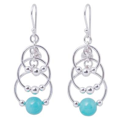 Fair Trade Sterling Silver and Amazonite Chandelier Earrings