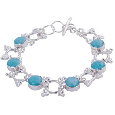 Andean Amazonite Bracelet Handcrafted in Sterling Silver
