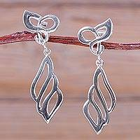 Sterling silver dangle earrings, 'Parallel Curves' - Modern Polished Sterling Silver Earrings from Peru