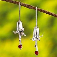 Carnelian drop earrings, 'Silver Honeysuckle' - Andean Sterling Silver Floral Earrings with Carnelian