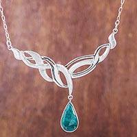 Chrysocolla pendant necklace, 'Andean Teardrop'