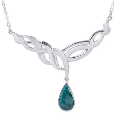 Chrysocolla pendant necklace, 'Andean Teardrop' - Handcrafted Sterling Silver Necklace with Andean Chrysocolla