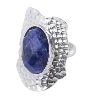 Dramatic Sodalite Cocktail Ring Handcrafted in Silver 925