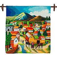 Wool tapestry, 'Andean Village' - Colorful Handwoven Andean Village Scene Wool Wall Tapestry