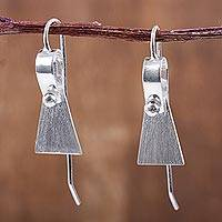 Sterling silver drop earrings, 'Medium and Message' - Peru Modern Brushed Sterling Silver Artisanal Drop Earrings