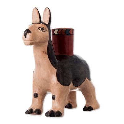 Ceramic decorative vessel, 'Moche Llama' - Handcrafted Ceramic Moche Replica Llama Sculpture from Peru