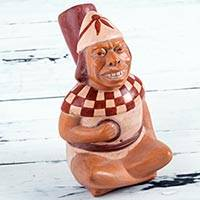 Ceramic decorative vessel, 'Smiling Moche Man' - Handcrafted Moche Ceramic Replica Sculpture from Peru