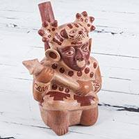 Ceramic decorative vessel, 'Moche Cat Warrior' - Moche Cat Warrior Handcrafted Ceramic Replica Sculpture