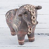 Ceramic decorative vessel, 'Black Bull of Pucara' - Andean Folklore Handcrafted Bull of Pucara Vessel Figurine