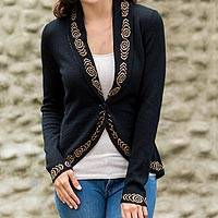 100% baby alpaca cardigan, 'Ebony Mystique' - Women's Knitted Cardigan Jacket in Black 100% Baby Alpaca