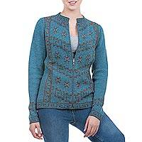 100% baby alpaca cardigan, 'Blue Paracas Mystique' - Steel Blue 100% Baby Alpaca Cardigan with Zipper